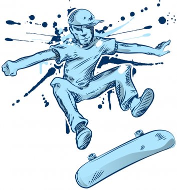 Skater hand draw on white background stock vector