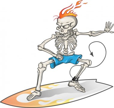 skeleton surfer isolated  on  background