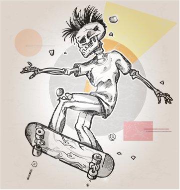 skeleton skater  on abstract retro background