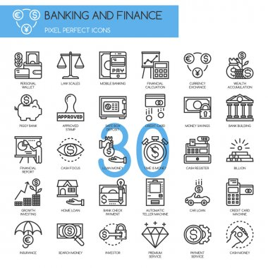 Banking and Finance , thin line icons set clip art vector