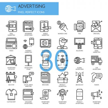 ADVERTISING , thin line icons set