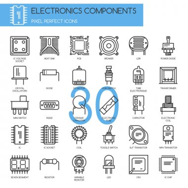 Electronic components , thin line icons set
