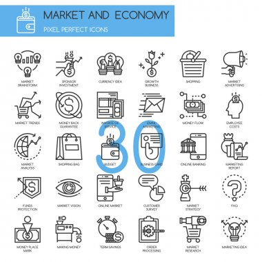 Market and Economy, thin line icons set