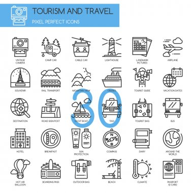TOURISM AND TRAVEL , thin line icons set