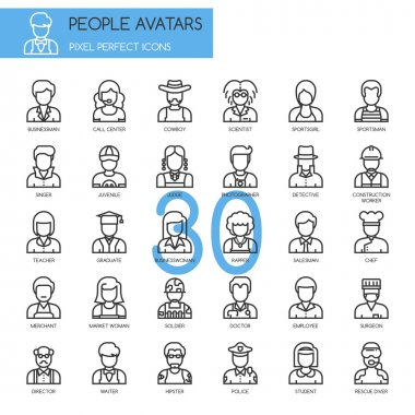 People Avatars, thin line icons set