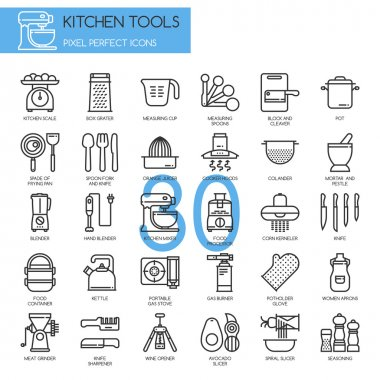 Kitchen Tools , thin line icons set ,pixel perfect icons clip art vector