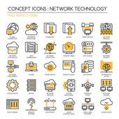 Netzwerktechnologie, Thin Line Icons gesetzt, Pixel Perfekte Icons