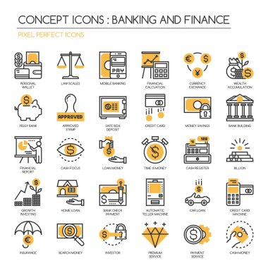 Banking and Finance , thin line icons set ,Pixel Perfect Icons