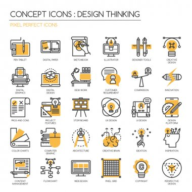 Design Thinking , thin line icons set , Pixel perfect icons ,Pix