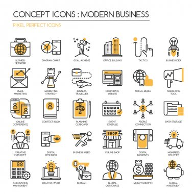 Modern business , thin line icons set ,Pixel Perfect Icons