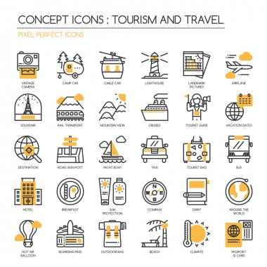 TOURISM AND TRAVEL , thin line icons set , Pixel Perfect Icons