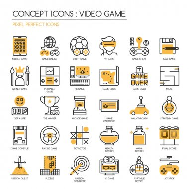 Video Game , thin line icons set ,pixel perfect icons