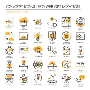 Search engine optimization , thin line icons set ,Pixel Perfect