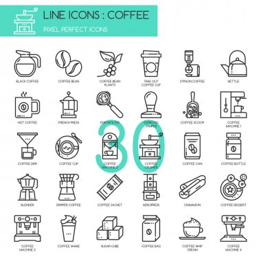 Coffee , thin line icons set ,pixel perfect icon