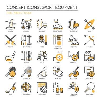 Sport Equipment , thin line icons set ,pixel perfect icon