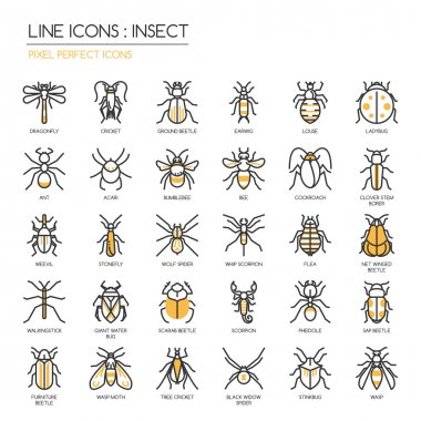 Insect , thin line icons set ,pixel perfect icon stock vector