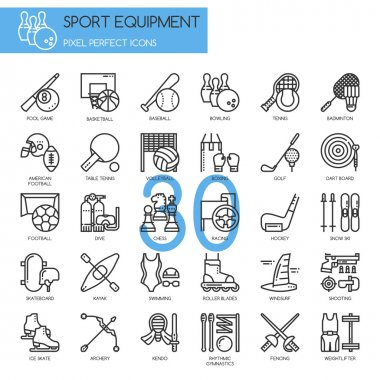 Sport Equipment , thin line icons set ,pixel perfect icon