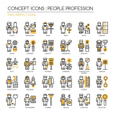 People Profession , thin line icons set , Pixel Perfect Icons