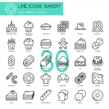Bakery , thin line icons set, Pixel perfect icons