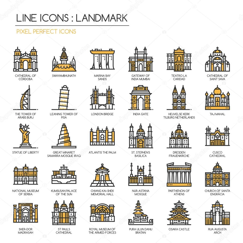 Landmark, thin line icons set ,pixel perfect icon