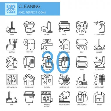 Cleaning , thin line icons set