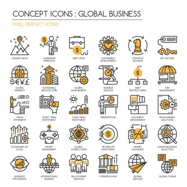Global Business , Thin Line and Pixel Perfect Icons