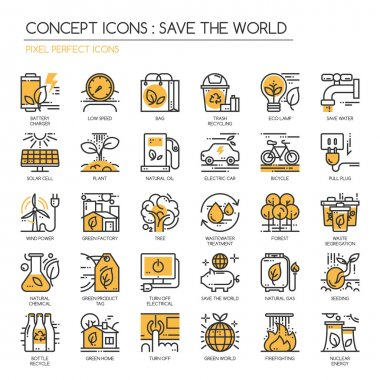 Save the world , Thin Line and Pixel Perfect Icons