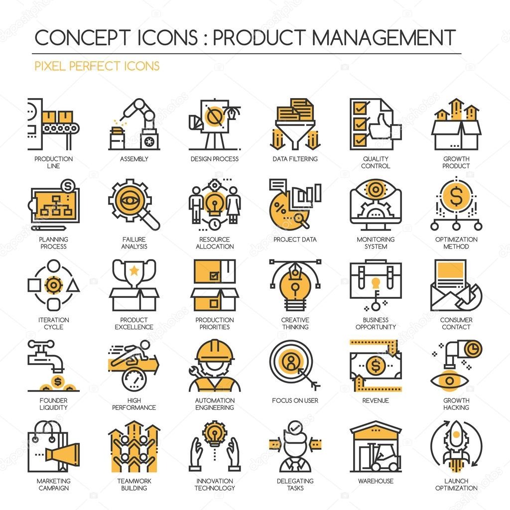 produktmanagment product management thin line and pixel perfect icons