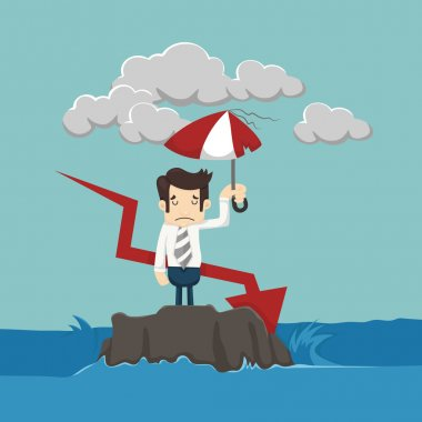 Businessman with umbrella standing in the sea