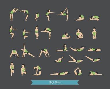 Set of yoga poses