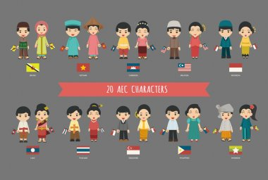Set of 20 asian men and women in traditional costume with flag