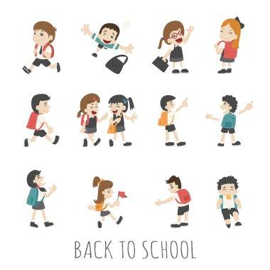 Back to school , pupils in school uniform