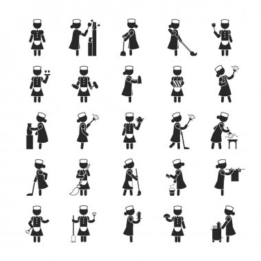 Set of maid  , Human pictogram Icons