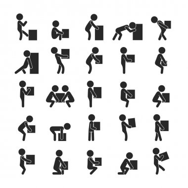 Set of man moving box, Human pictogram Icons