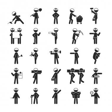 Set of Industrial contractors workers people , Human pictogram I