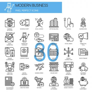 Modern business , thin line icons set