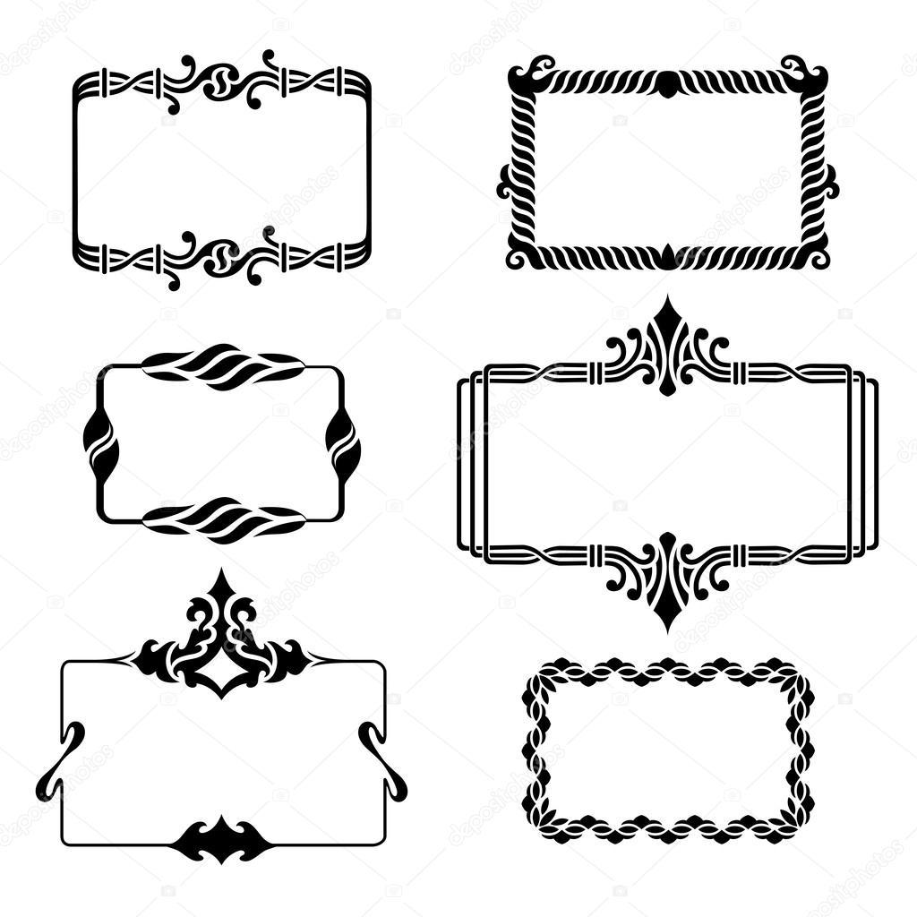 conjunto de marcos de gráficos vintage — Vector de stock © Zubroffka ...
