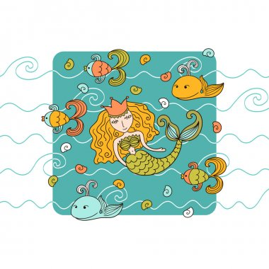 Cartoon background with mermaid and marine inhabitants