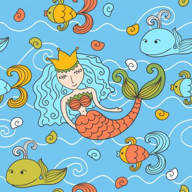 Cartoon seamless pattern with mermaid and marine inhabitants