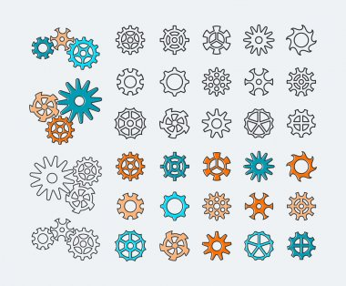 Set of line gears, linear icons