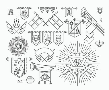Set of linear graphical flags and royal design elements