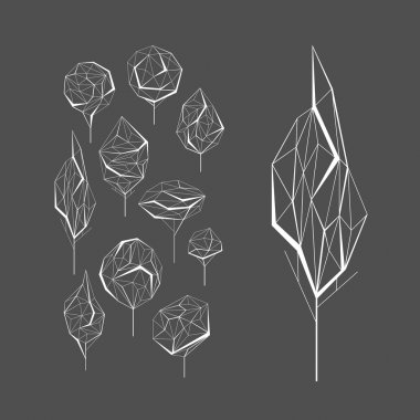 Polygonal graphic set of vector trees