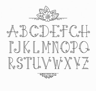 Line vector decorative font