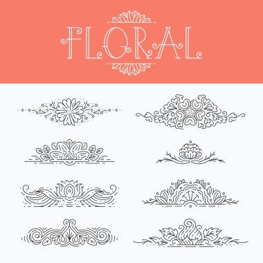 Thin mono line floral decorative design elements