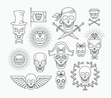 Set of outline empty skulls.