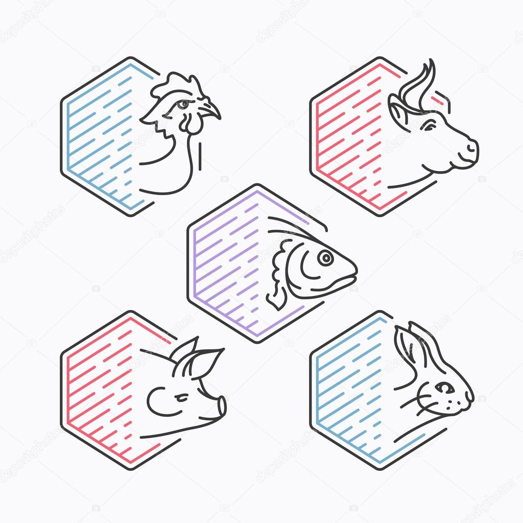 Meats line icons' set