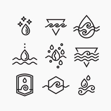 Vector line set of water symbols