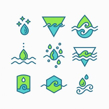 Vector line set of water symbols, isolated icons.