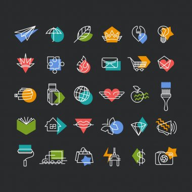 Vector line icons' set with color geometrical accents.