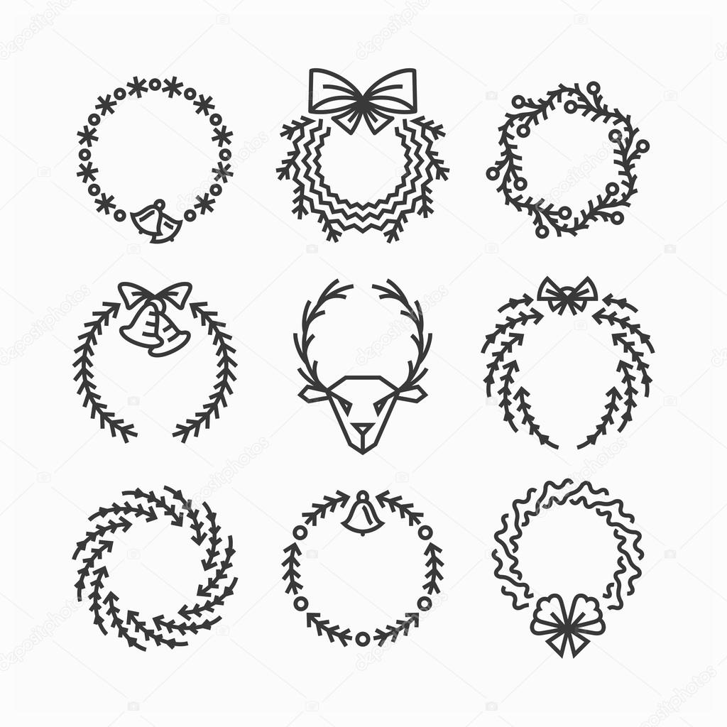 Set Of Line Christmas Icons And Decorations New Year Isolated Outline Wreaths Vector By Zubroffka